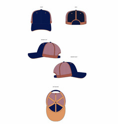 6 panel trucker cap template vector