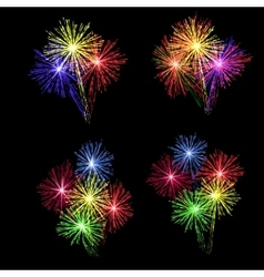 A set of colorful fireworks in honor of the vector