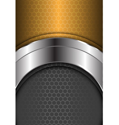 Abstract silver curve center gold gray hexagon vector