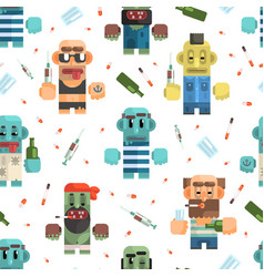 addicted men seamless pattern male characters vector image