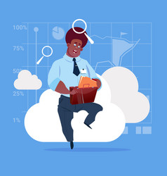 African american business man sitting on cloud vector