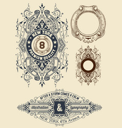 Aged labels with floral details vector