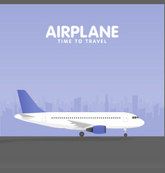 airplane in the sky urban city silhouette vector image