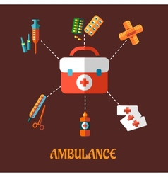 Ambulance icons flat concept vector