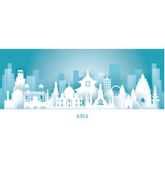 Asia skyline landmarks in paper cutting style vector