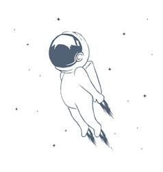 Astronaut flies through space at high speed vector