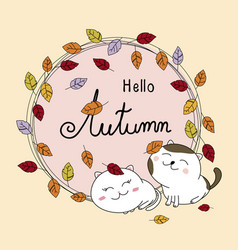 autumn card design of couple cat and leaves fall vector image