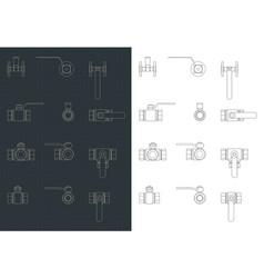 ball valves blueprints set vector image