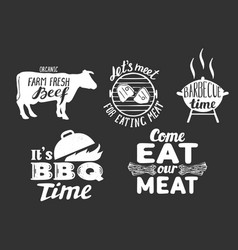 Barbecue meat quotes labels badges set vector