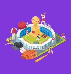 baseball stadium concept 3d isometric view vector image