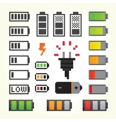 Battery pack icons in pixel art style vector