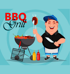 bbq young cheerful man cooks grilled meat vector image
