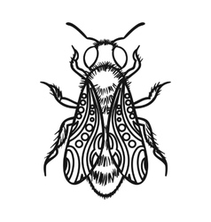 Bee icon in outline style isolated on white vector