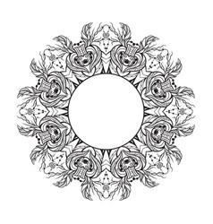 black and white round mandala frame with a boho vector image