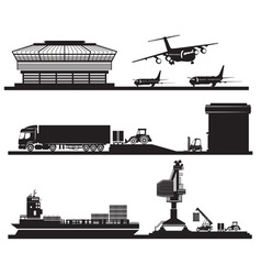 Black and White Set of Industrial Transport Icons vector