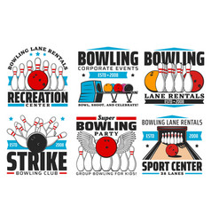 Bowling with skittles and ball on alley icons vector
