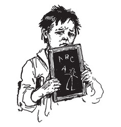 Boy holding school slate or boy learning vintage vector