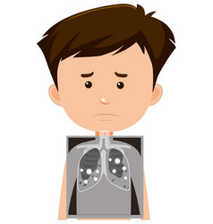 Boy with lung x-ray vector