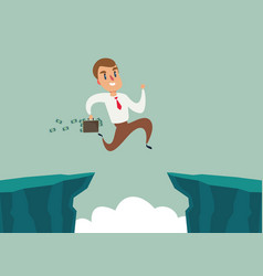 Businessman jump over cliff gap overcome the vector