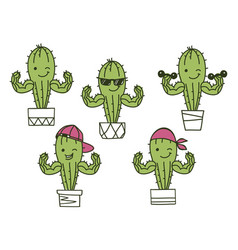 cactus show muscle biceps color set printable vector image