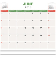 Calendar Planner 2016 Flat Design Template June vector