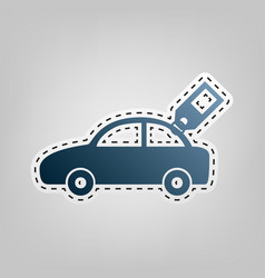 car sign with tag blue icon with outline vector image