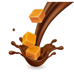 caramel pieces in chocolate splash realistic vector image