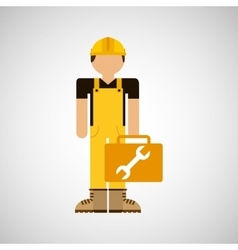 character construction man with tool box wrench vector image