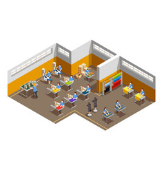 Clothes factory interior isometric composition vector
