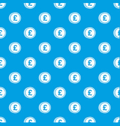 coins of pound pattern seamless blue vector image