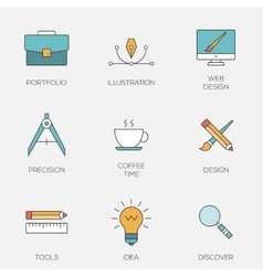 Creative design color line icons vector image