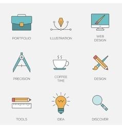 Creative design color line icons vector
