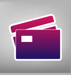 Credit card sign purple gradient icon on vector