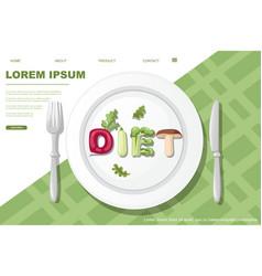 Diet style cartoon vegetable design on white plate vector