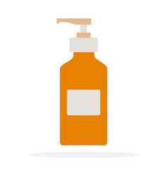 Disinfectant dispenser with hands flat material vector