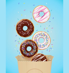 donuts set of american sweets vector image