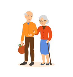 elderly people go under the arm in the shop vector image