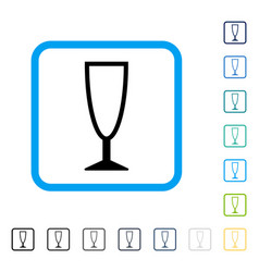 Empty wine glass framed icon vector