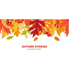 fall leaves seamless border hand drawn vector image