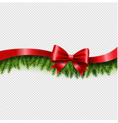 fir tree border with red bow and ribbon vector image