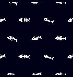 fish skeleton black and white seamless vector image