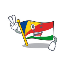 Flag seychelles character cartoon style with two vector