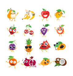Funny fruit - isolated cartoon emoticons vector