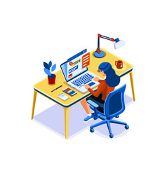 Girl working at home in isolation vector