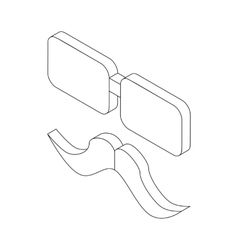 Glasses and mustache icon isometric 3d style vector image