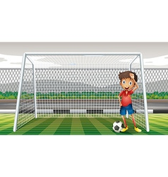 Goalkeeper standing at the goal vector image