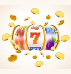 Golden slot machine with flying golden coins wins vector