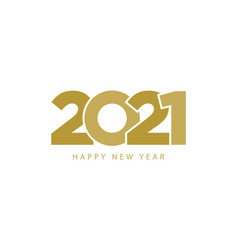 golden text 2021 happy new year isolated on white vector image