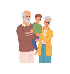 Grandfather and grandmother with grandson on hands vector
