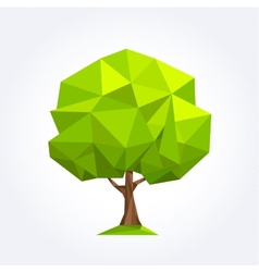 Green geometric palm formed by triangles vector